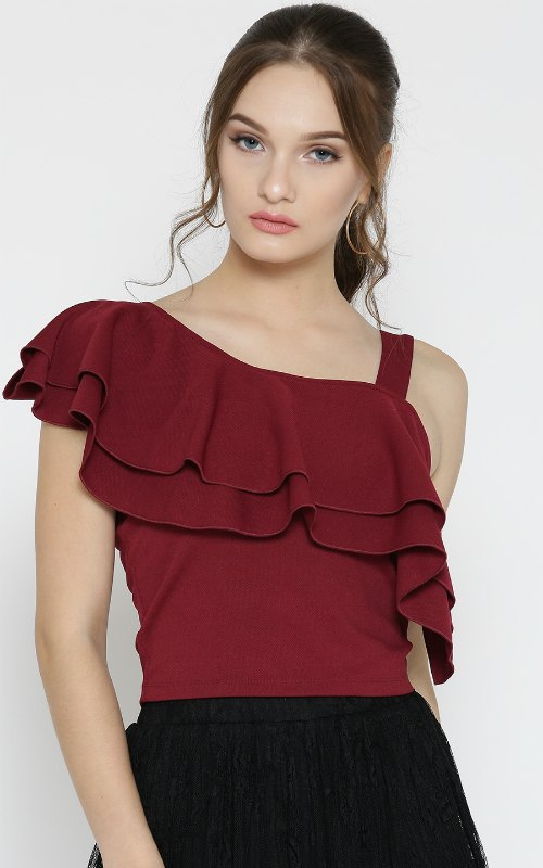 Maroon Solid One Shoulder Crop Top