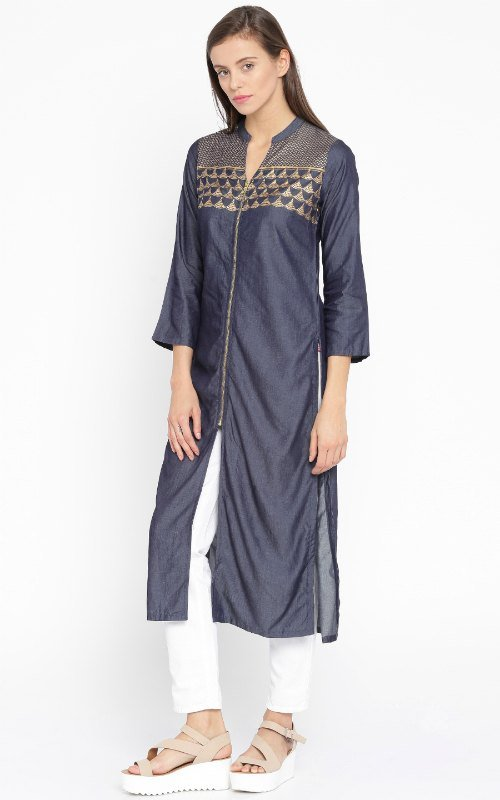 Navy Blue Denim Kurta