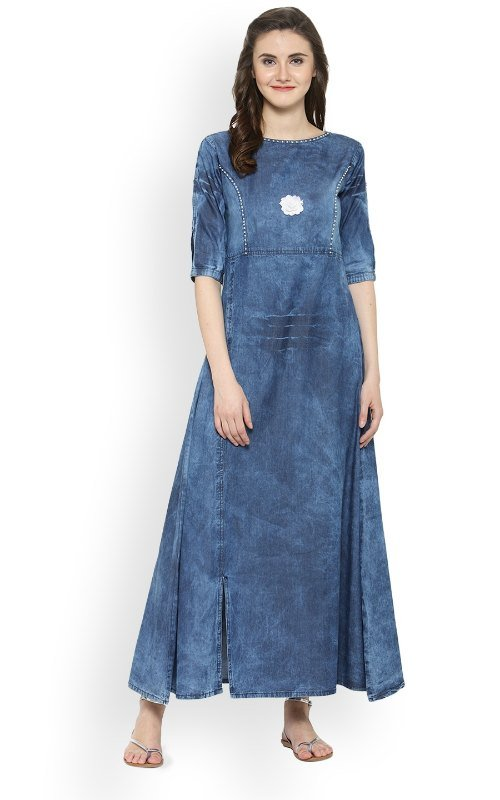 Round Neck A-Line Denim Kurta