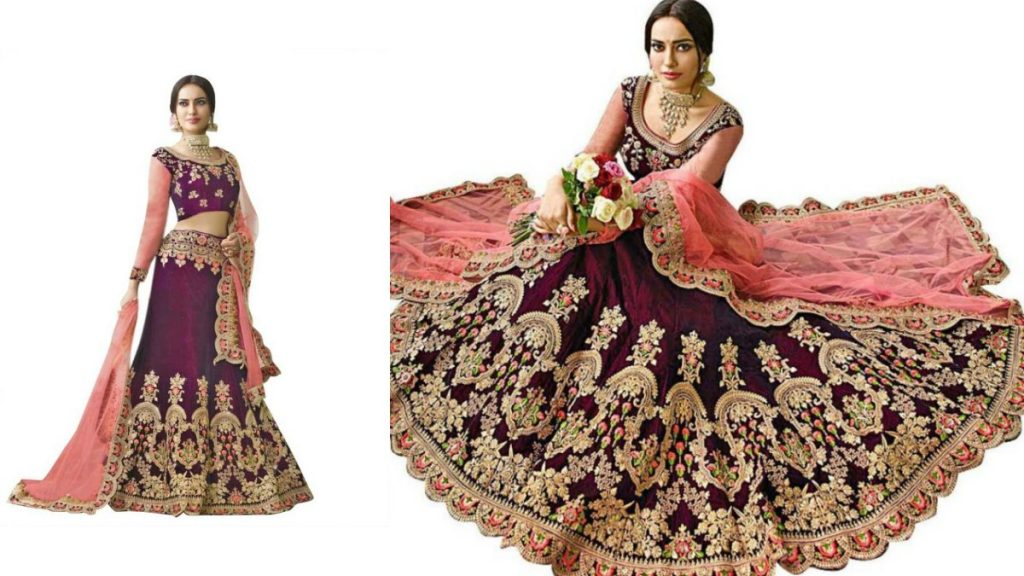 Semi Stitched Lehenga With Full Sleeve Blouse