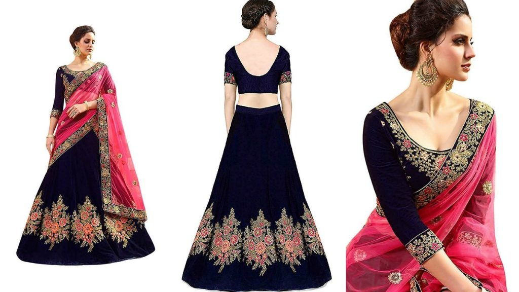 Silk Embroidered Semi stitched Lehenga Choli With Dupatta Set