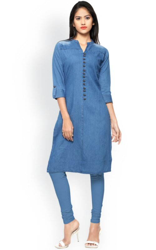 Solid Straight Denim Kurta