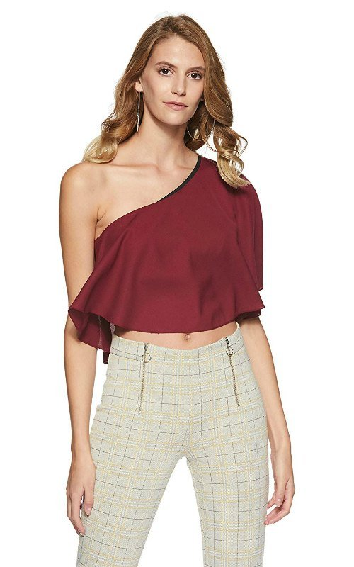 Women's Georgette One Shoulder Crop Top
