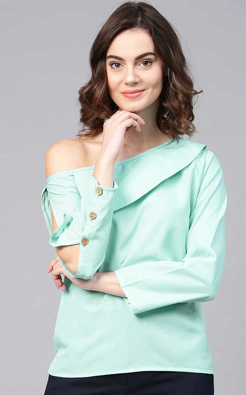 Pastel Coloured One Shoulder Top