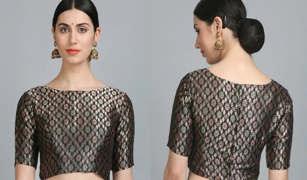 Black Brocade Stitched Blouse