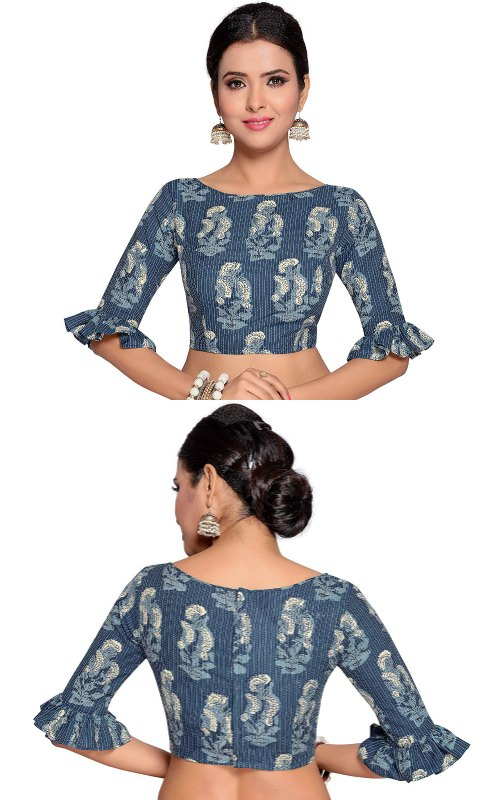Blue Striped Saree Blouse With Frilled Sleeves