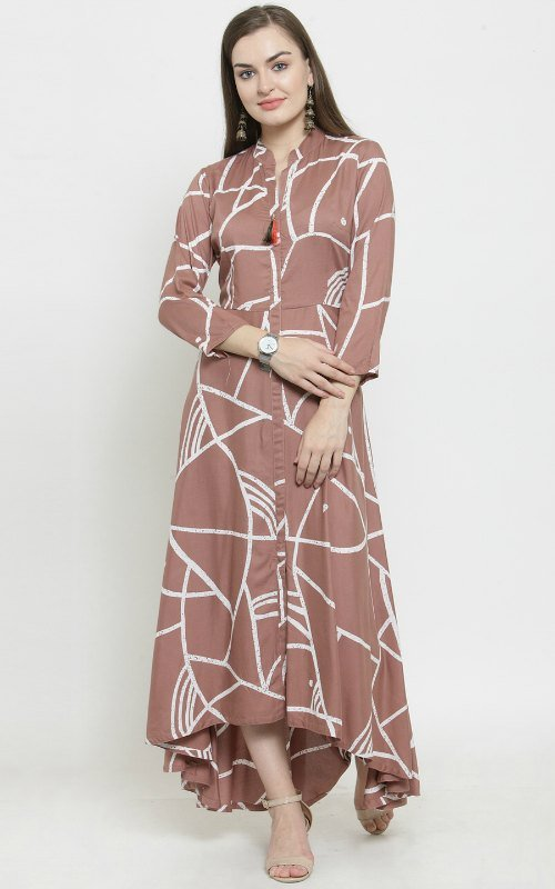 Brown And White Printed Kurti