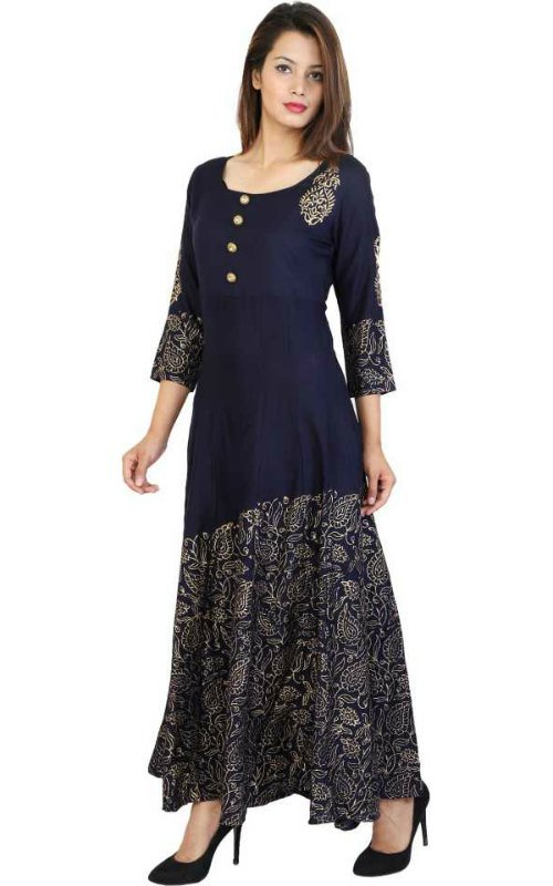 Dark Blue Printed Anarkali Kurta