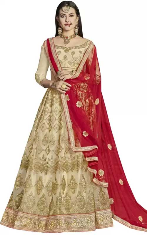 Embroidered Semi Stitched Lehenga Choli