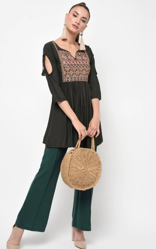 Embroidered Solid Kurti