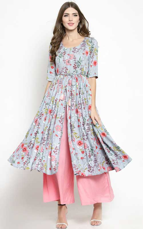 Floral Front Kurta With Palazzo Set