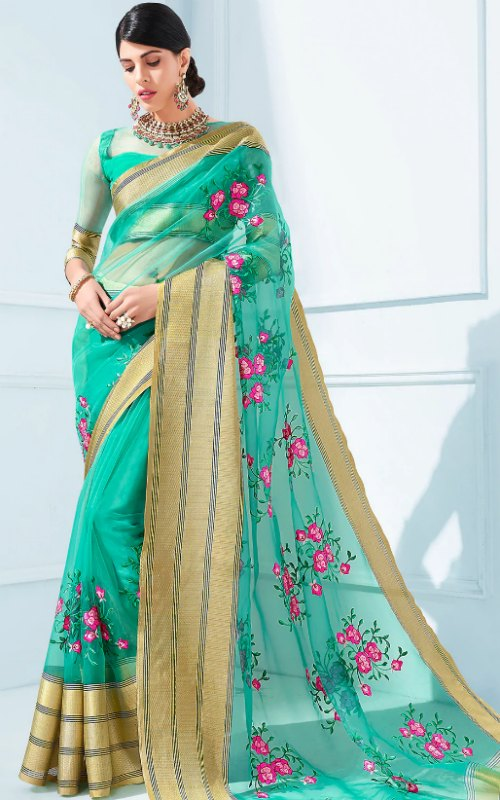 Floral Organza Saree With Blouse