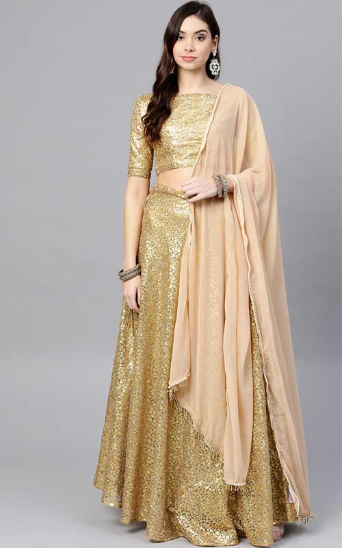 Golden Sequinned Semi-Stitched Lehenga