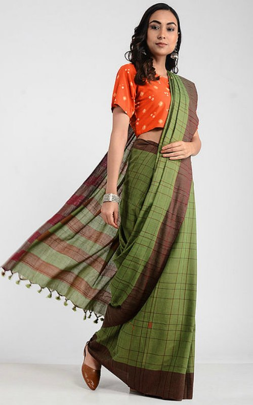 Green-Maroon Khadi Saree With Jamdani