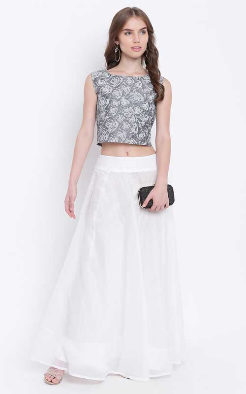 Grey Ready to Wear Lehenga with Blouse