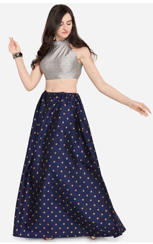 Navy Blue Ready to Wear Lehenga with Blouse
