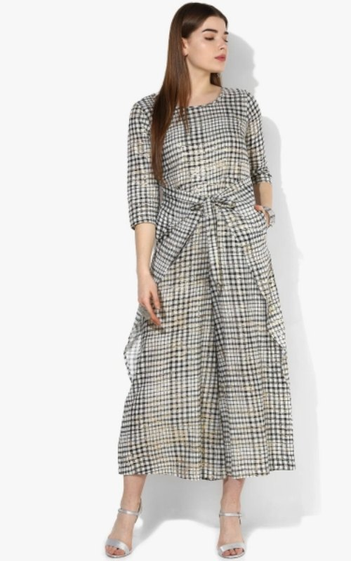 Off White Checked Jumpsuit