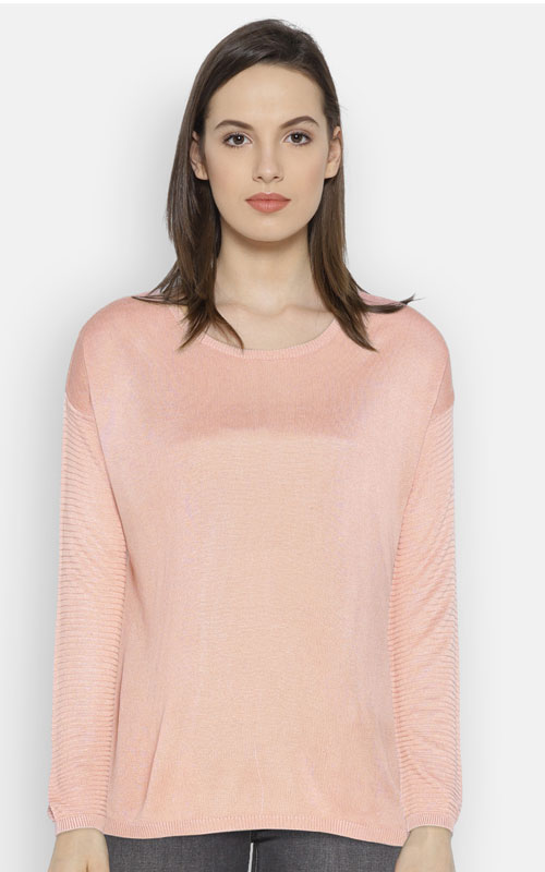 Peach-Coloured Solid Round Neck T-shirt