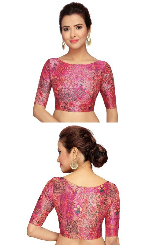 Pink Abstract Readymade Saree Boat Neck Blouse
