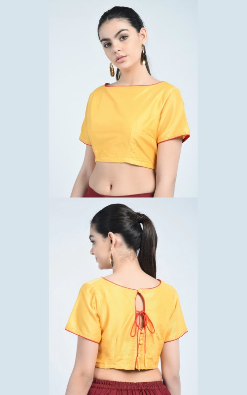 Piping Solid Blouse