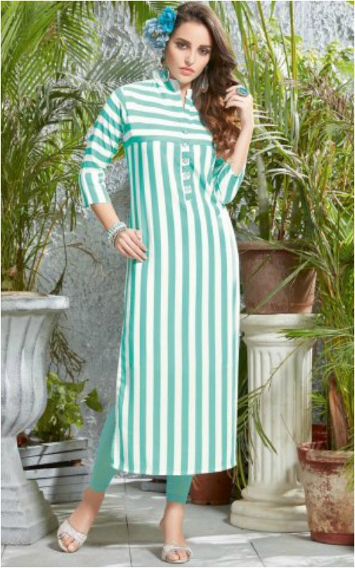 Sea Blue And White Long Kurti