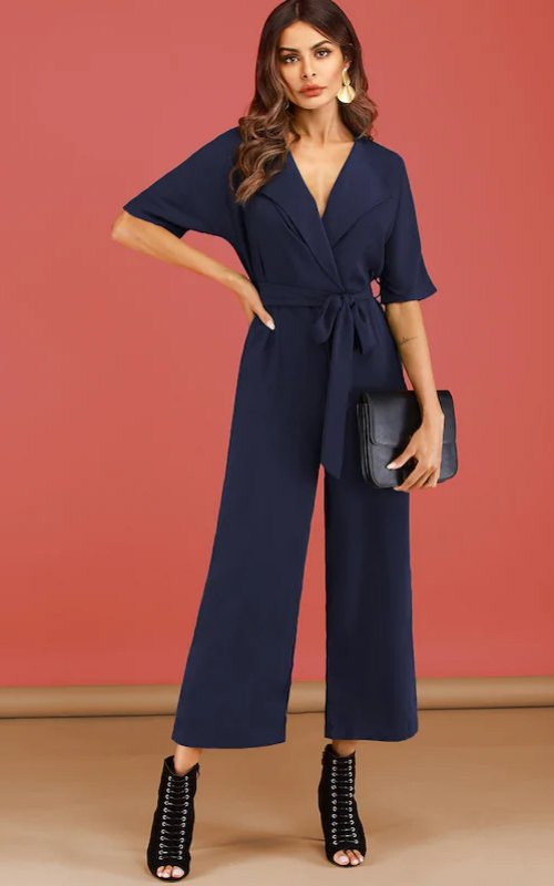 Shawl Collar Solid Belted Jumpsuit