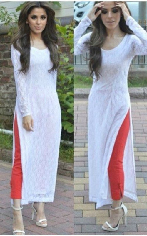 White Colour Embroidery Kurti
