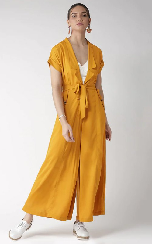 Yellow Neck Flared Jumpsuit