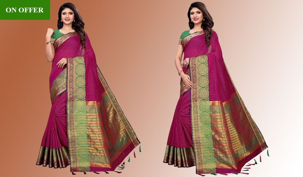 Checkered Dharmavaram Cotton Saree