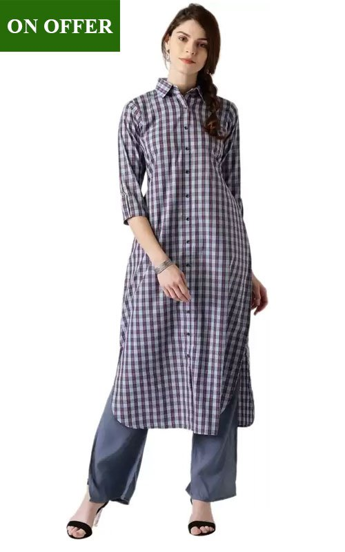 Checkered Pathani Shirt Kurti