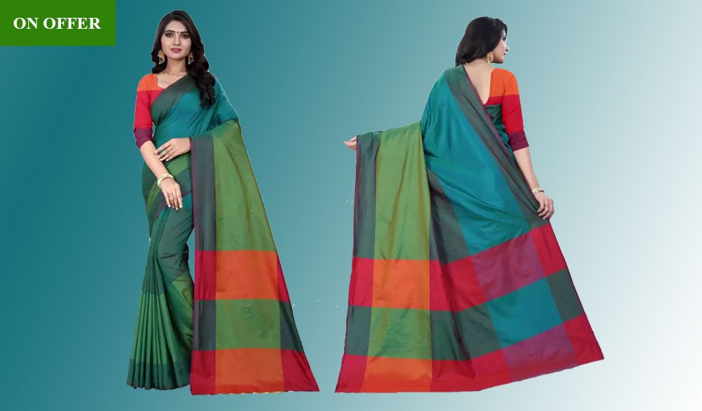 Color Block Handloom Poly Silk Saree  (Green)