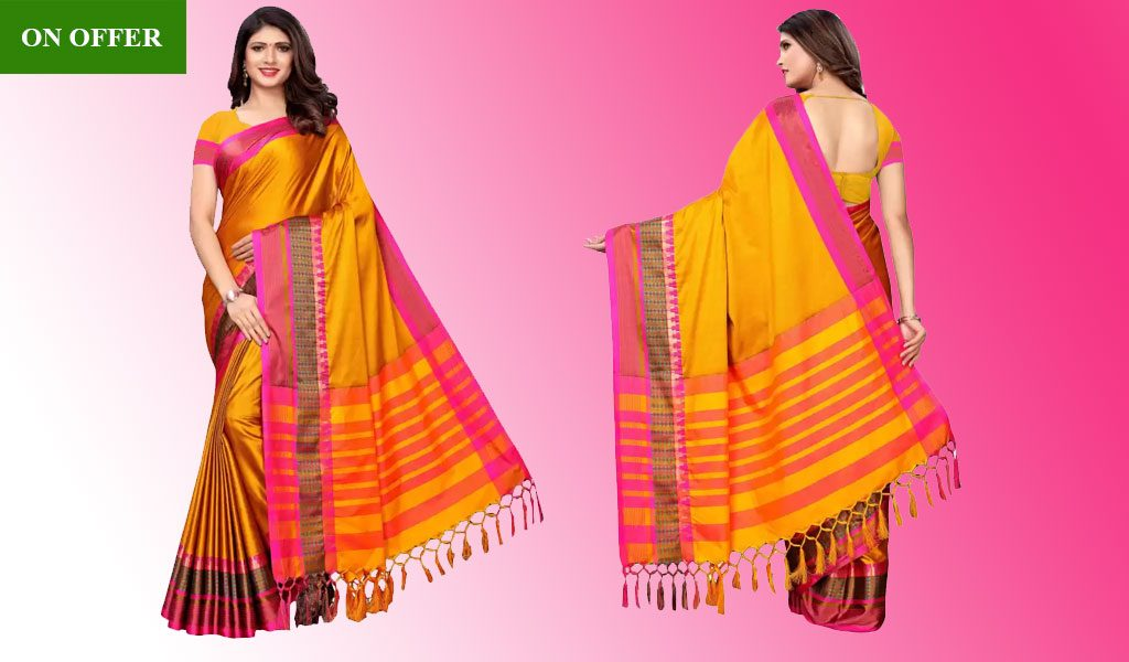 Cotton Blend Saree  (Yellow, Pink)