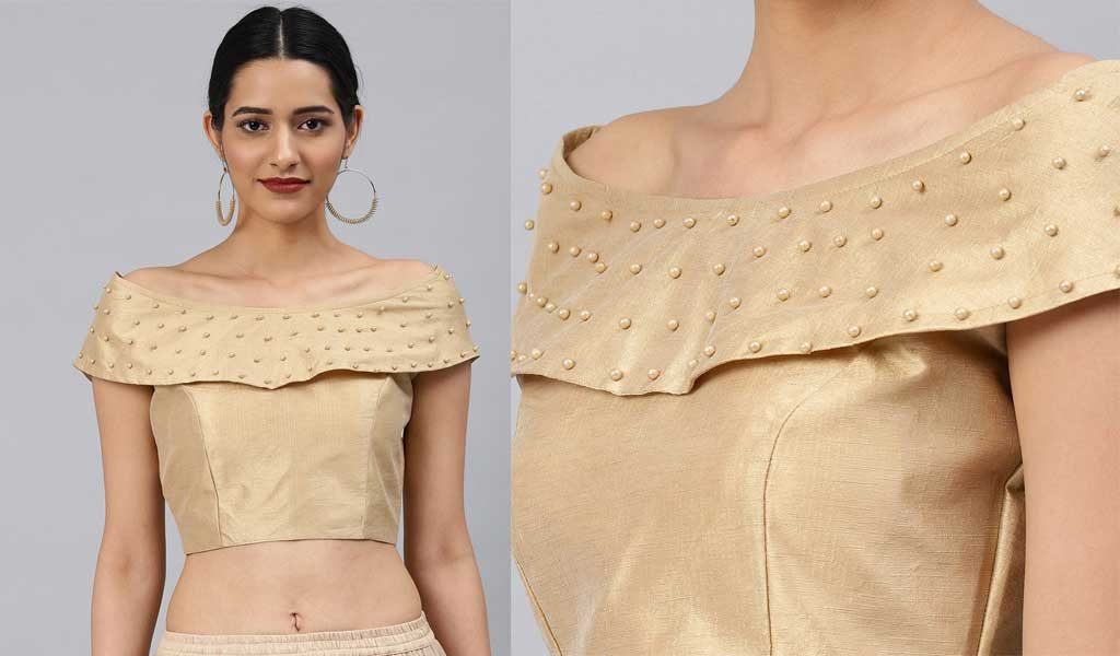 Gold Toned Phantom Embellished Padded Saree Blouse