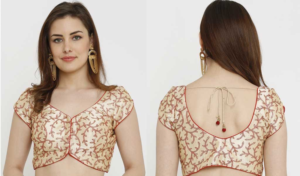 Gold-Toned & Red Printed Dupion Silk Padded Saree Blouse