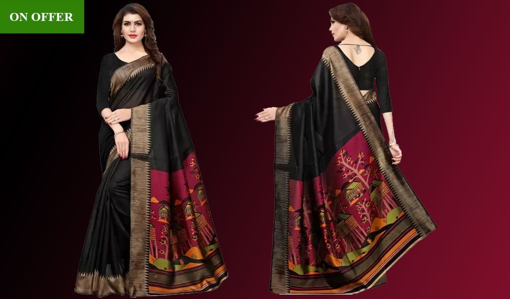 Graphic Print Silk Saree