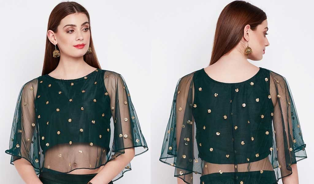 Green Net Embroidered Blouse
