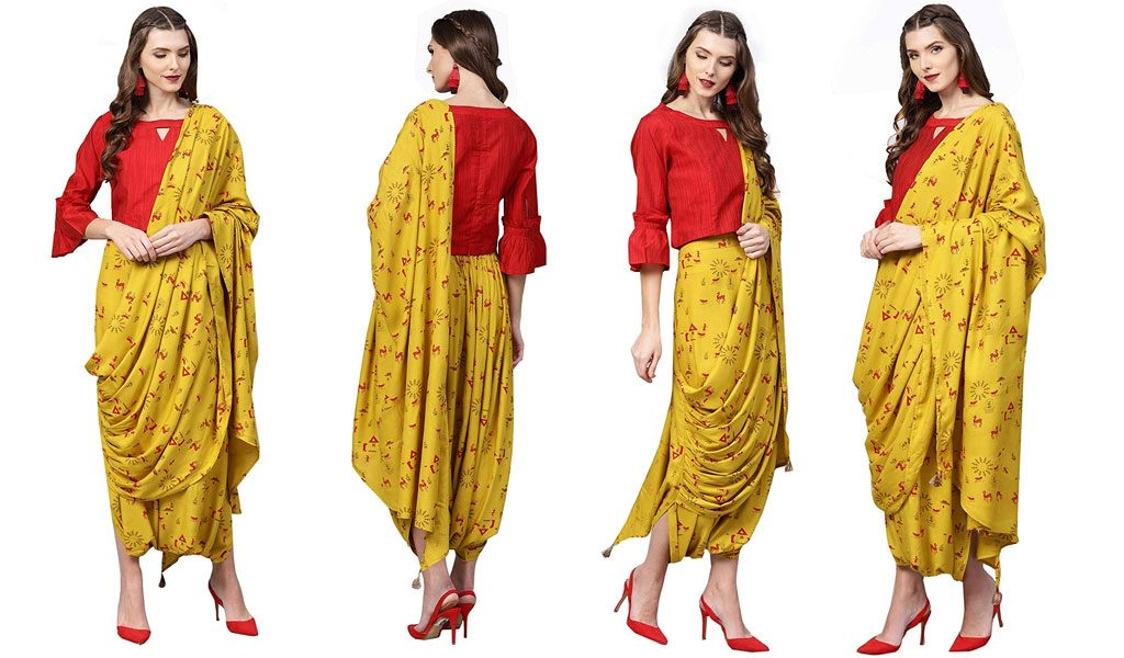 Ready to Wear Saree in a Beautiful Mustard Yellow Colour