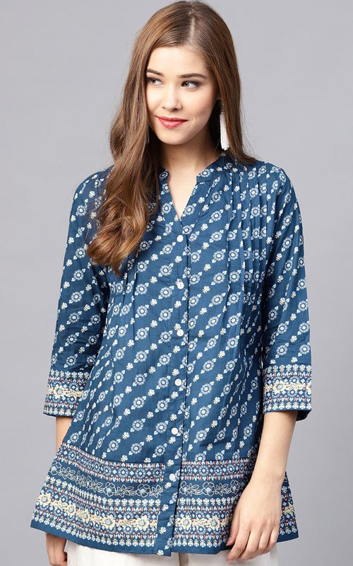 Navy Blue Printed A-line Shirt Kurti