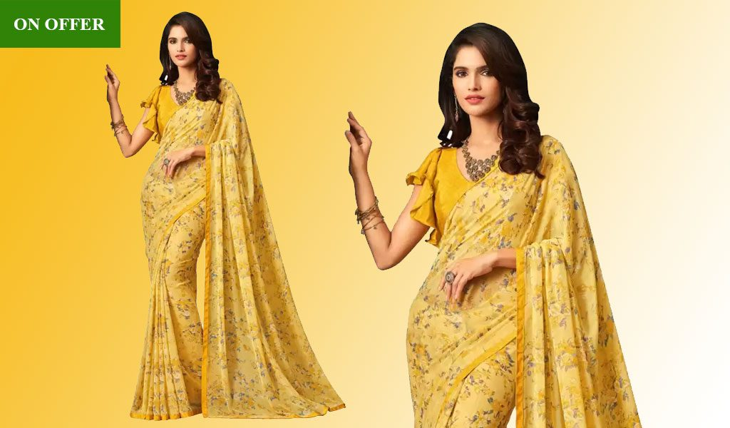Printed Daily Wear Chiffon Saree  (Yellow)