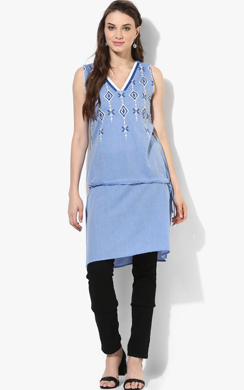 Sleeveless Pure Cotton Kurti in Faded Blue