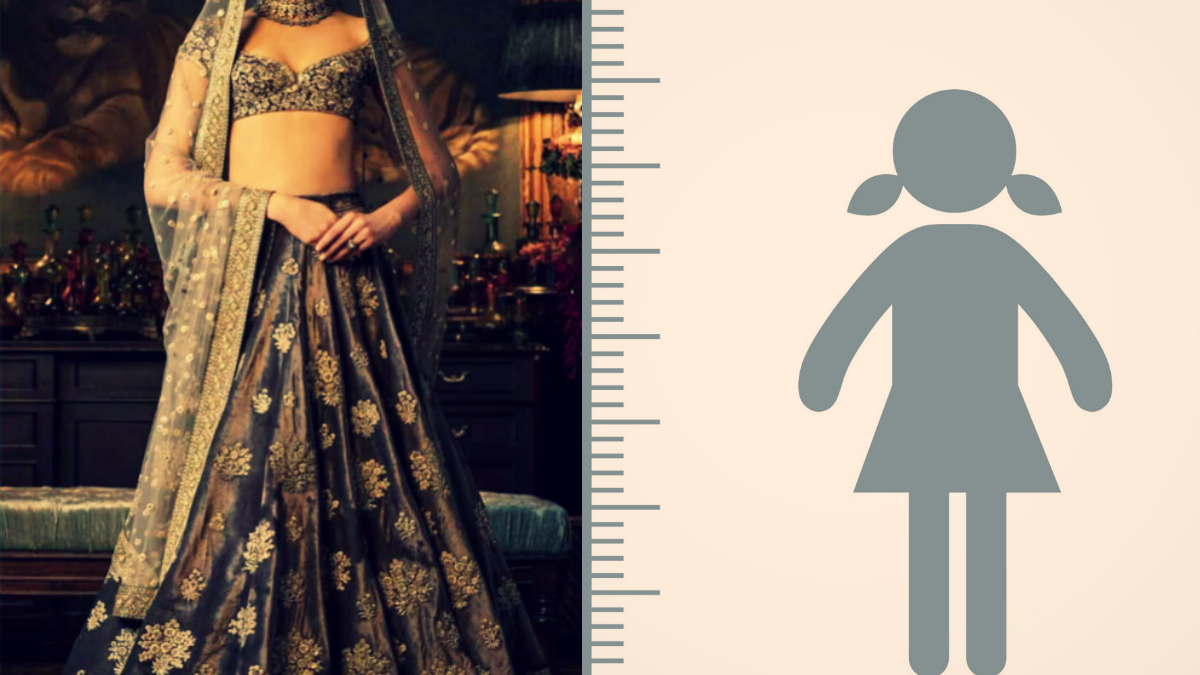 How should a bride choose a lehenga apt for her height