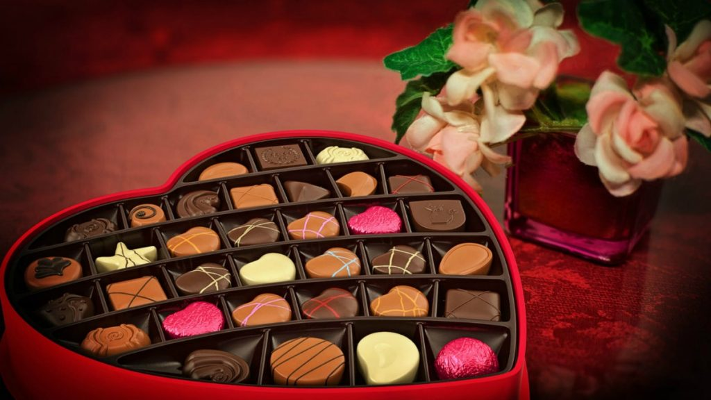 chocolates in a heart shaped gift box