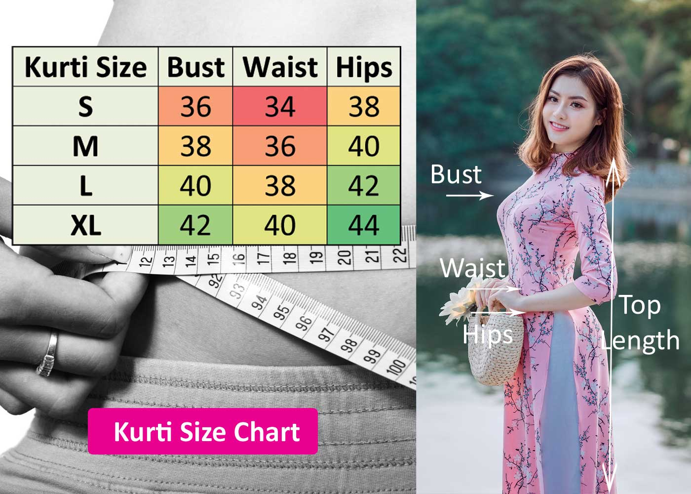 Kurti Size Chart for Online Shopping
