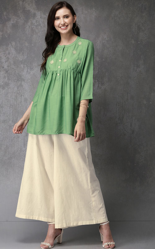 Embroidered Top with Palazzos