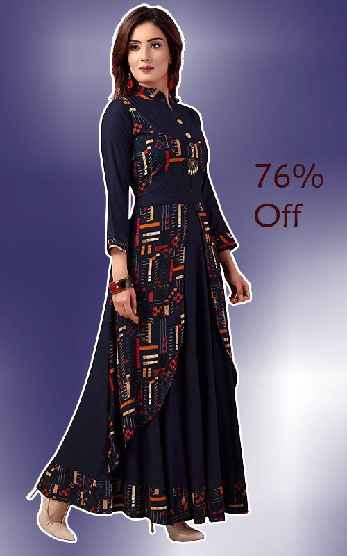 Dark Blue Gown style Long Kurti