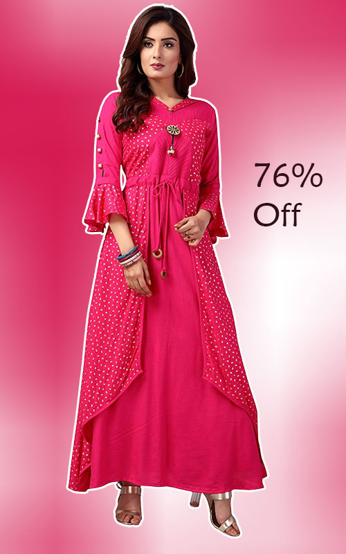 Gown Style Long Kurti in Pink