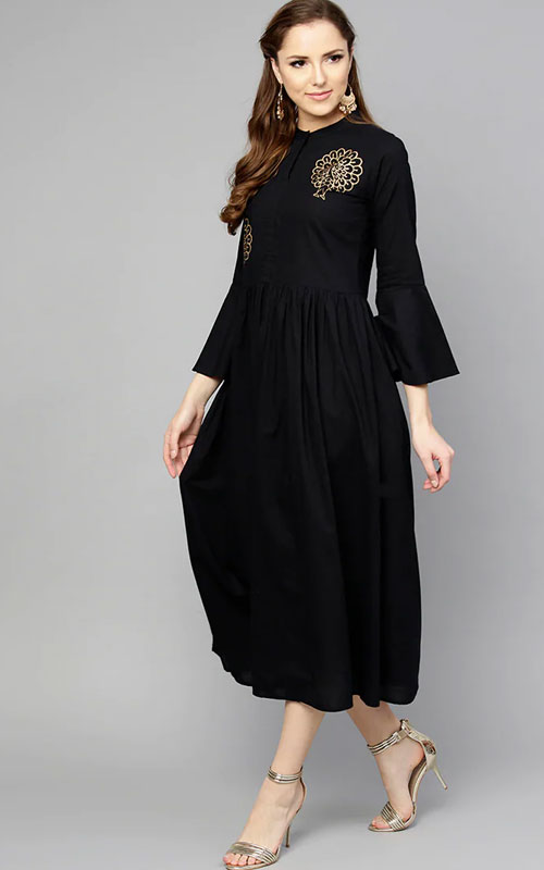 Black Dress with Peacock Insignia