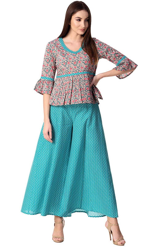 Cotton Top with Palazzo Pants