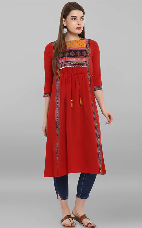 Red A-Line Kurti with Beautiful Floral Print