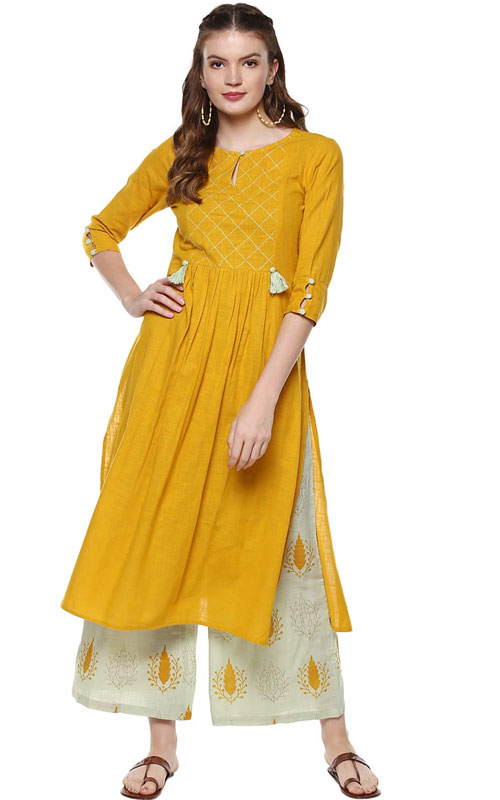 Sage Green / Mustard Kurti with Palazzo Pants